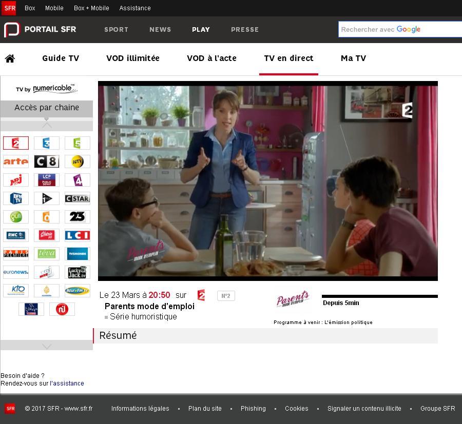 TV sur PC SFR : mode d'emploi