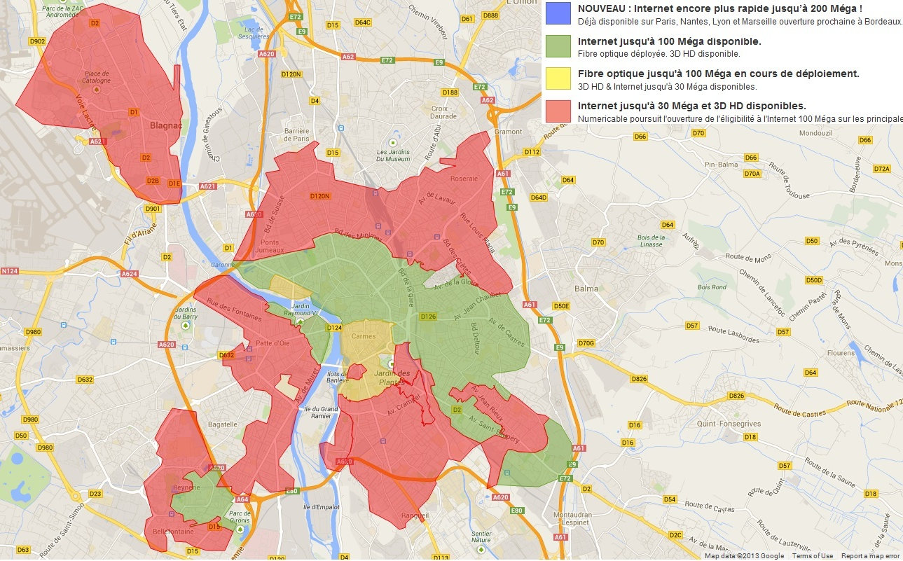 """Carte """"fibre"""" Numericable sur Toulouse"""