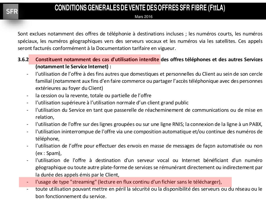 Streaming En General Interdit Dans Les Conditions De Vente Sfr Caraibes