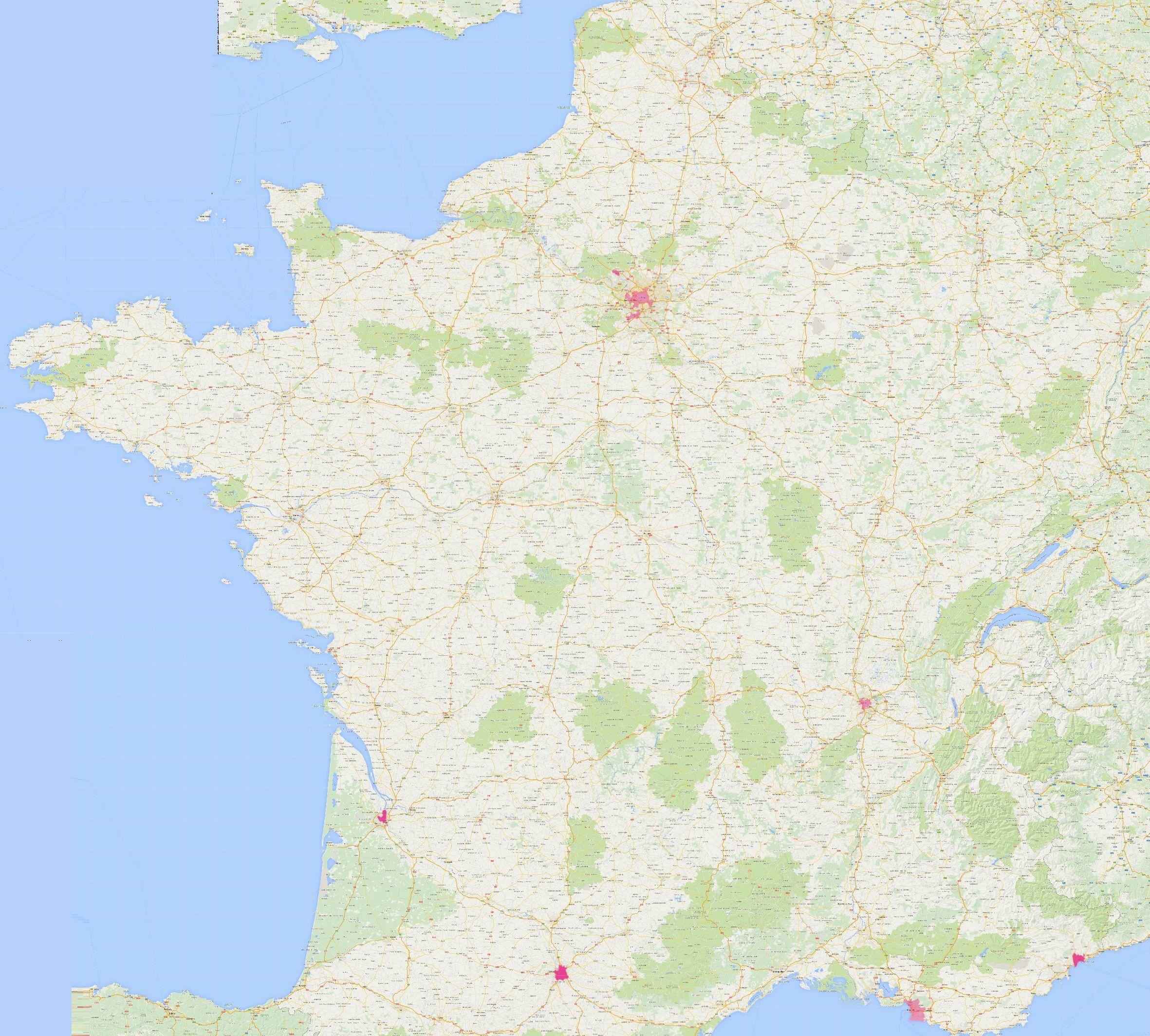 Carte de la couverture FTTH Bouygues