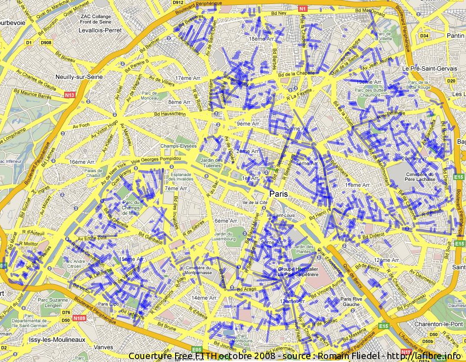 Free carte de la zone en cours de couverture par for Raccordement a la fibre