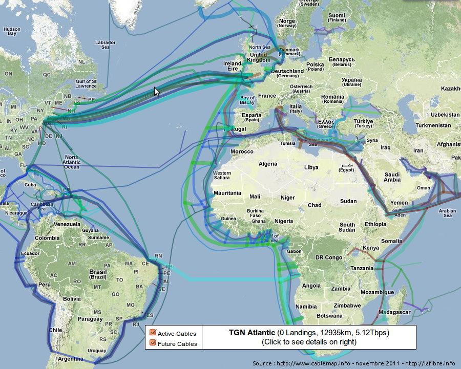 Cable sous marin qui relie la france au autres - Carte fibre optique france ...