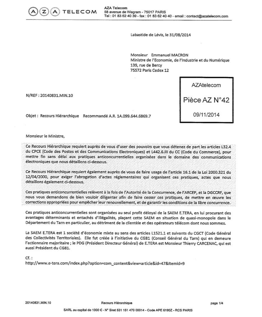 Voici La Lettre Envoye Par Magali Piketty Grance De AZA Telecom Au Ministre Lconomie Pour Demander Une Libre Concurrence Sans Succs