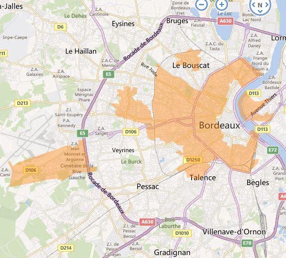 Carte Fibre Bordeaux.Merignac