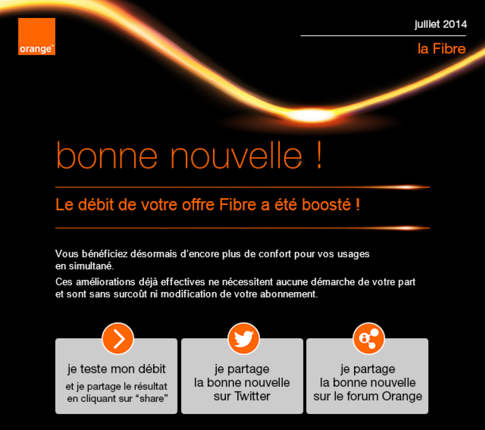 fibre orange propose 1 gb s sans surco t communaut orange. Black Bedroom Furniture Sets. Home Design Ideas