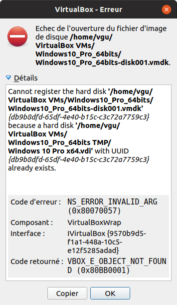 Problème pour l'activation de Windows 10 avec VirtualBox