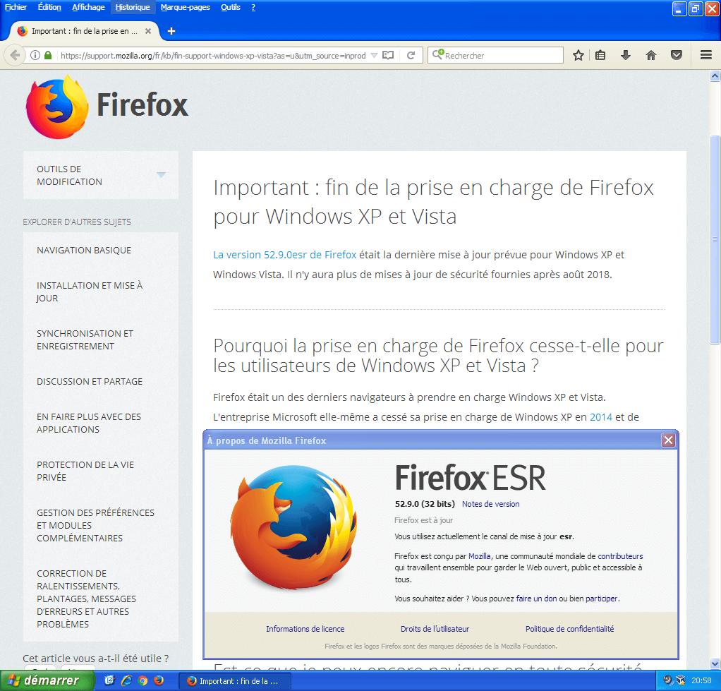 Firefox 52 est la dernière version de Firefox pour Windows XP / Vista